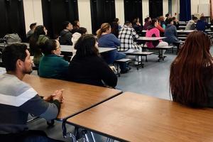 Parents attending math workshop