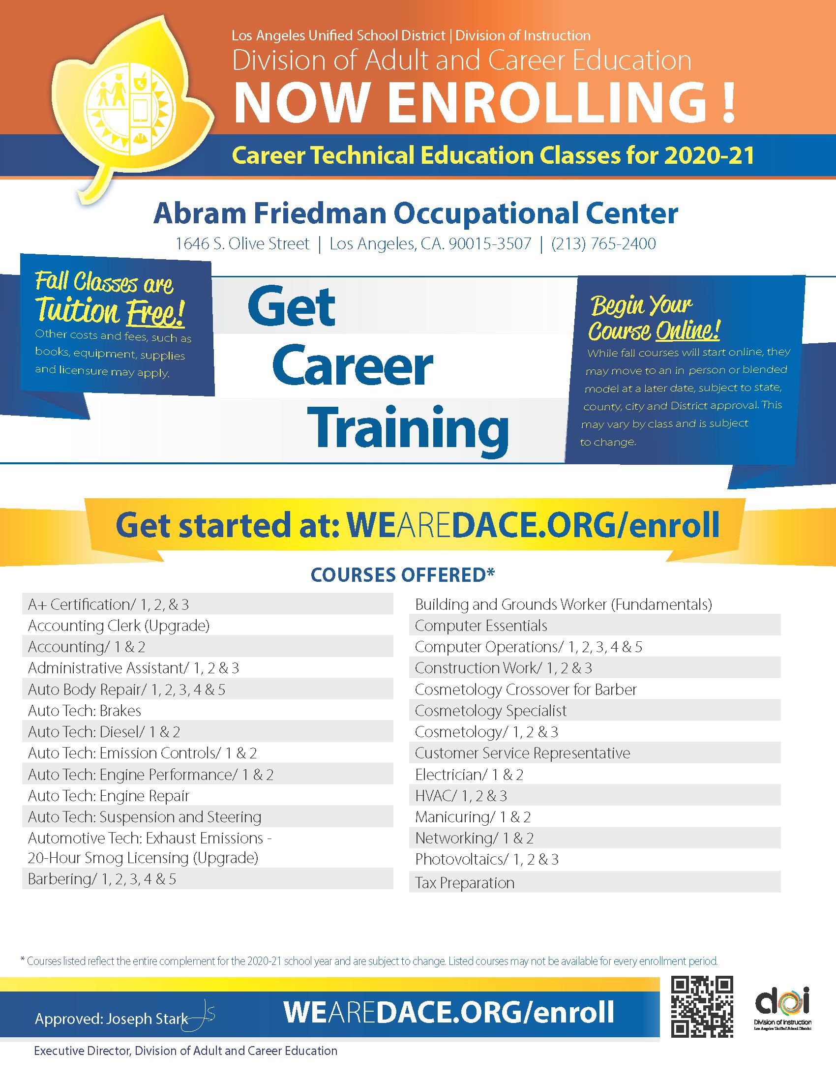 Career Technical Education Flyer for 2020-21