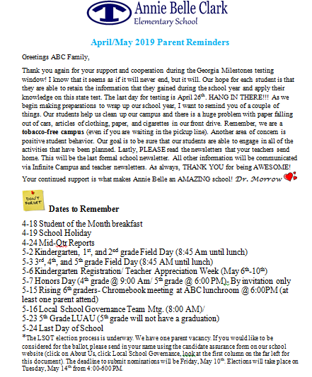 April/May 2019 Parent Reminders Featured Photo