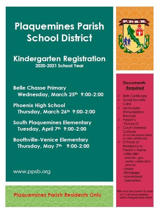 Plaqumines Parish School District Kindergarten Registration 2020-2021 Thumbnail Image