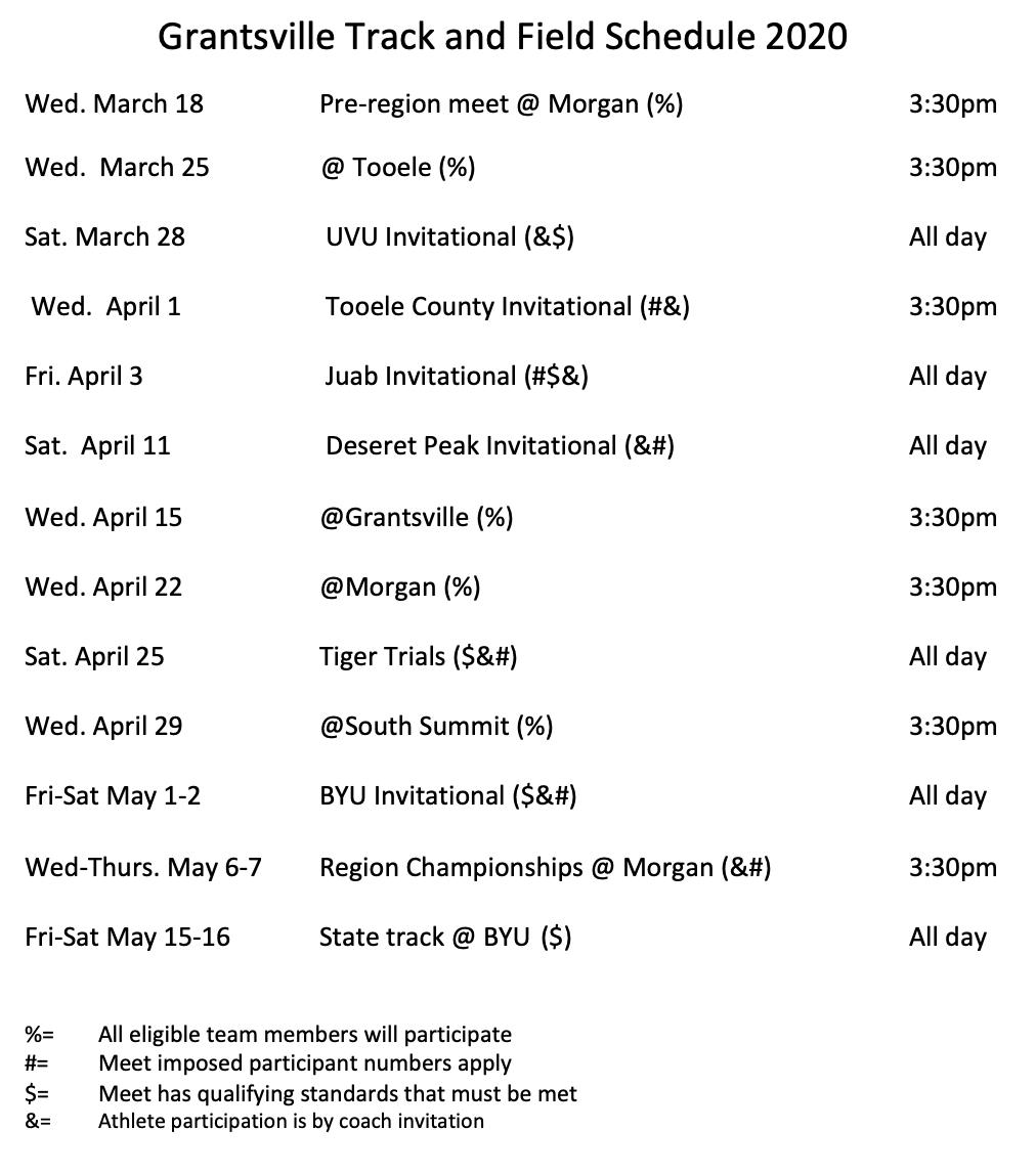 Track Schedule - Updated 28 Feb 2020