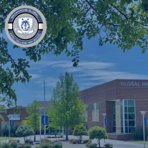 exterior shot of campus with the campus logo on top of the image