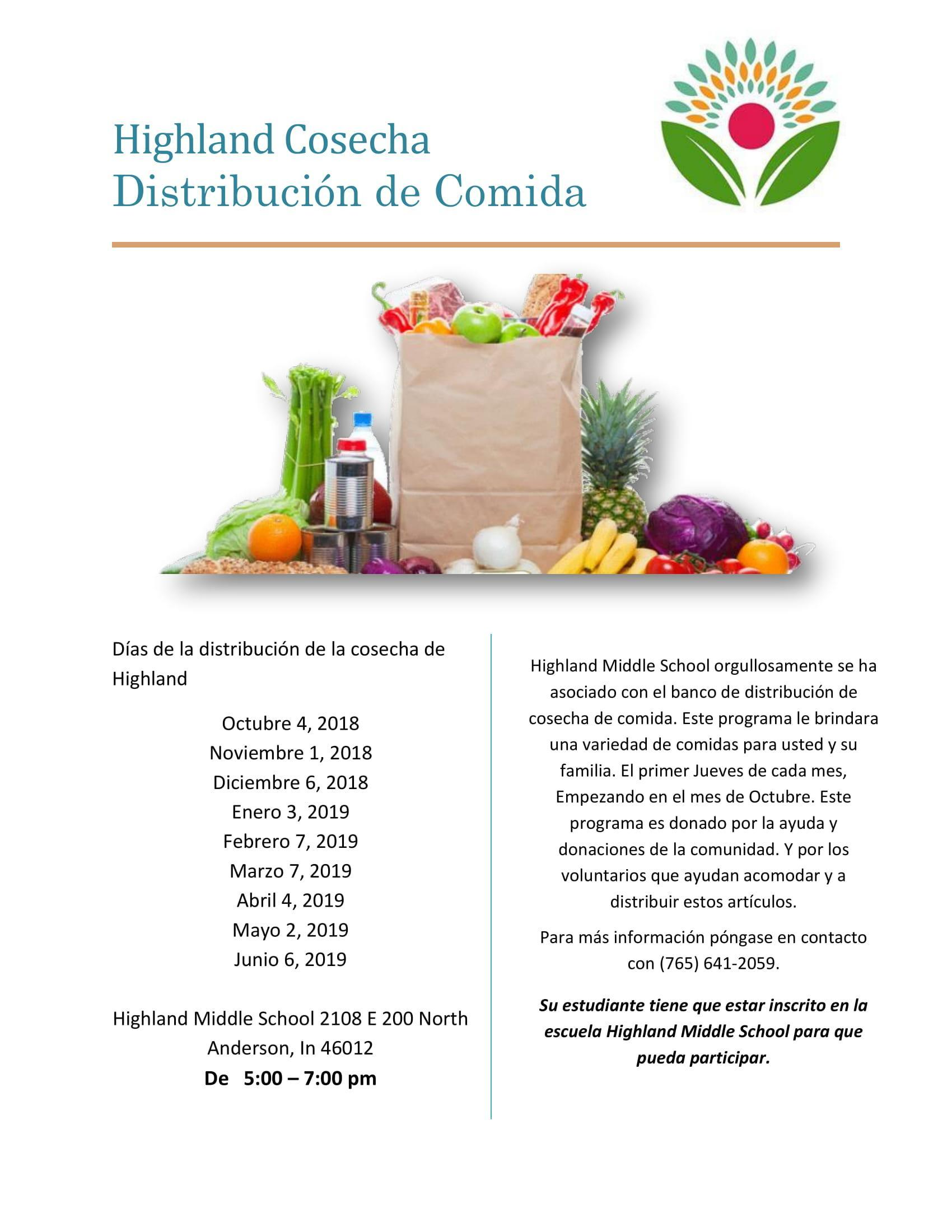 flyer in Spanish for the Highland Harvest food distribution
