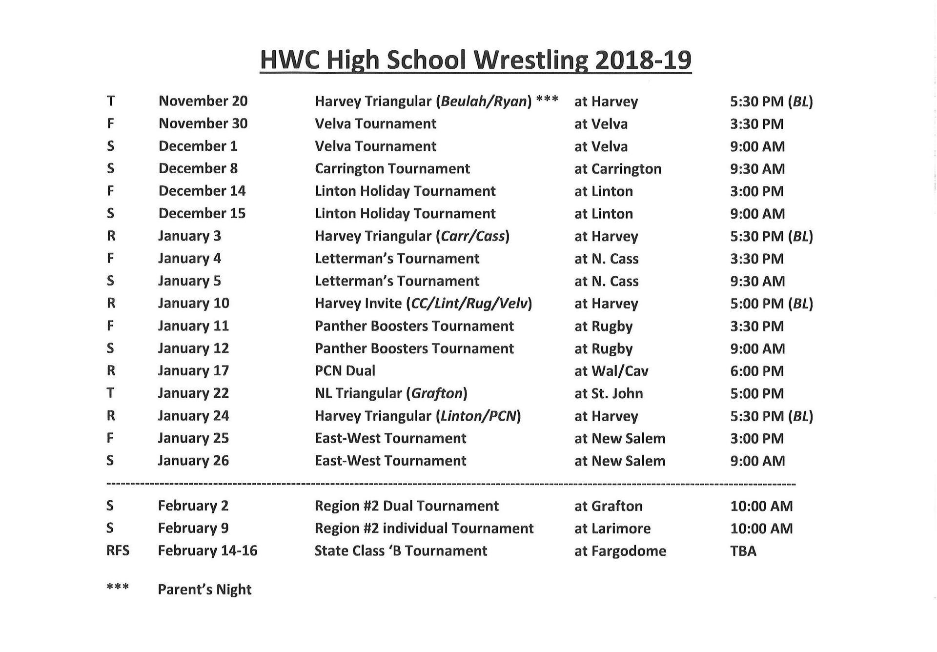 2018-2019 Wrestling Schedule