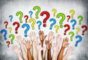 Hands Raised with Colorful Question Marks above hands