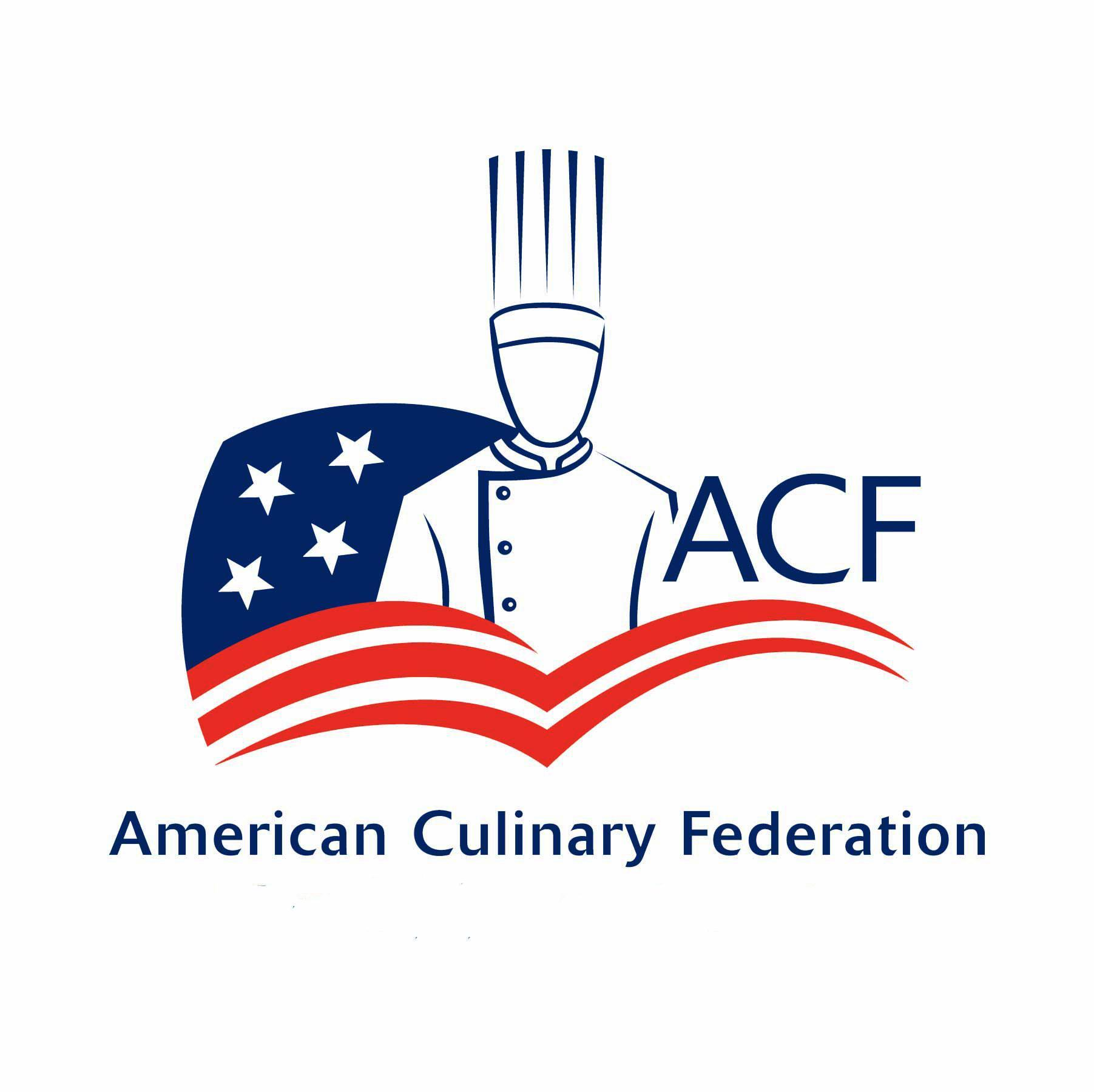 ACF logo, outline of a chef and the American flag