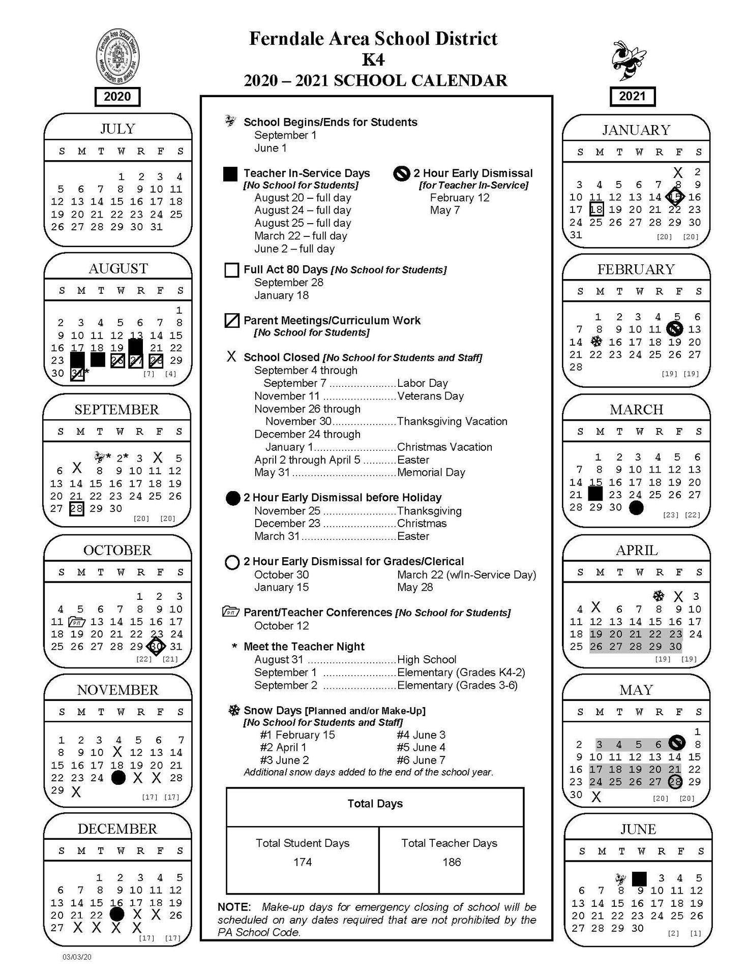 2020-2021 K4 School Calendar