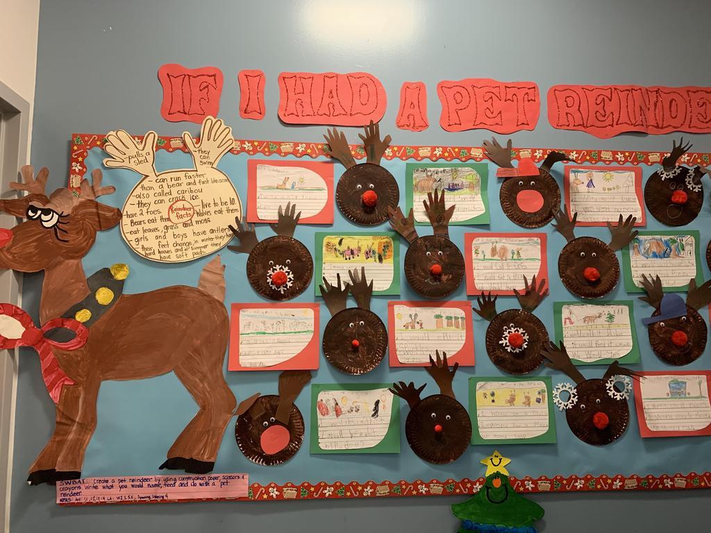 reindeer student writing display board
