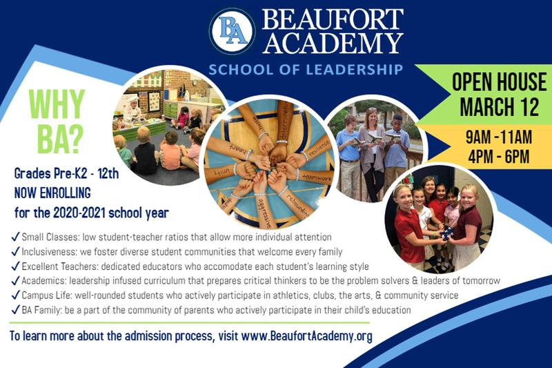 Beaufort Academy Open House, March 12 Featured Photo