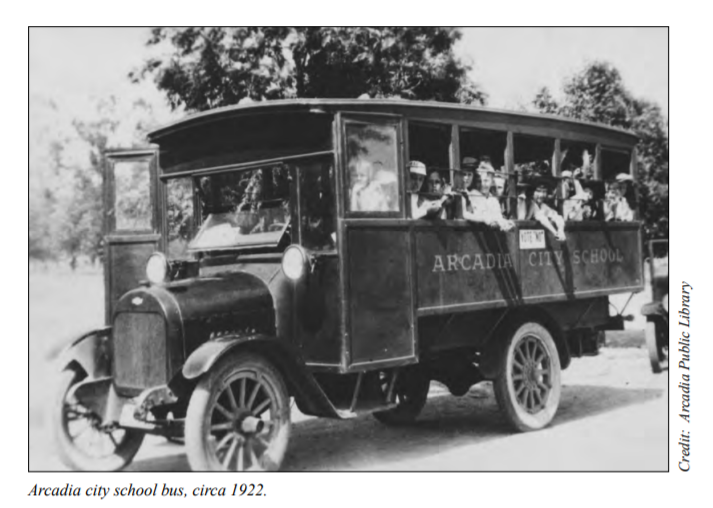 vintage arcadia city school bus