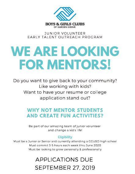 Juniors and Seniors - Would You Like to Become a Mentor? Featured Photo