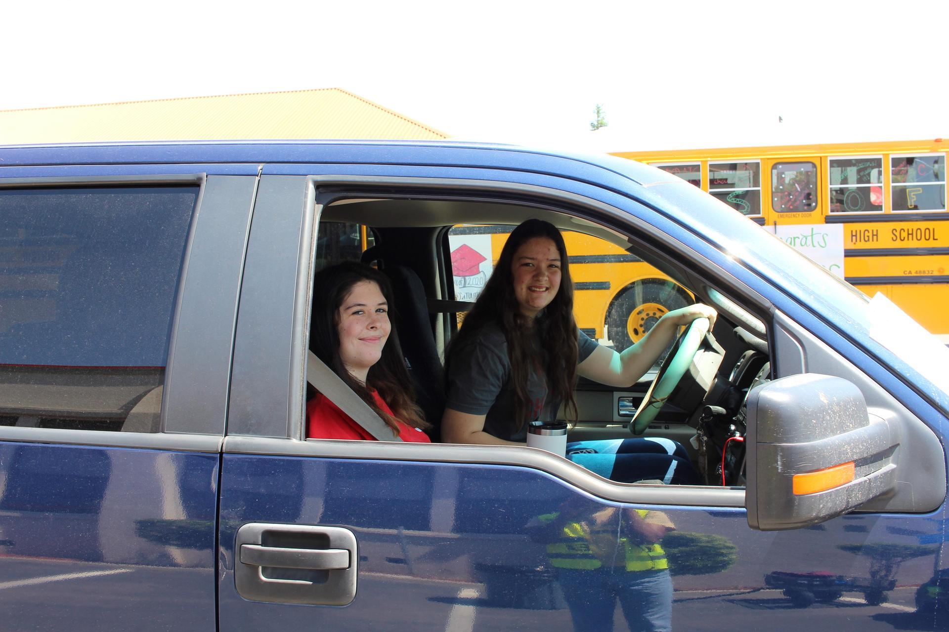 Juliana Smith riding with Trinity Smith driving