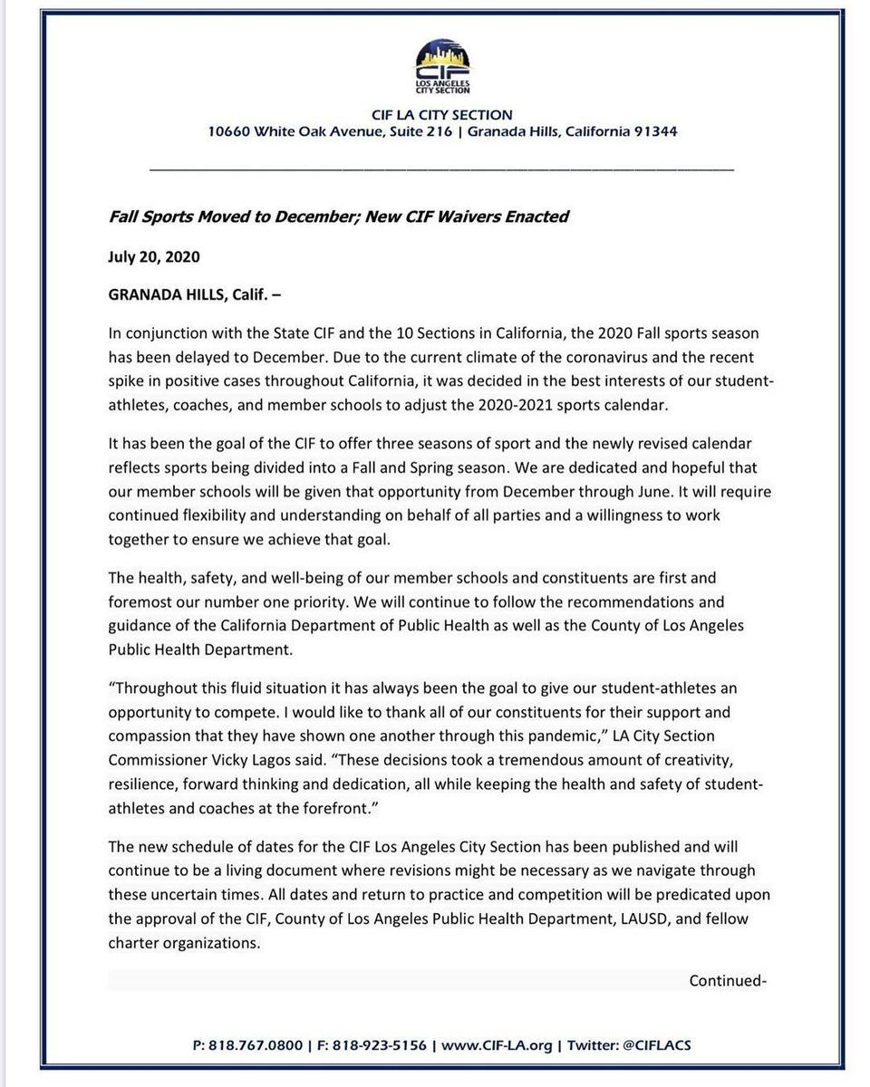 CIF letter regarding 2020-21 high school sports pg1