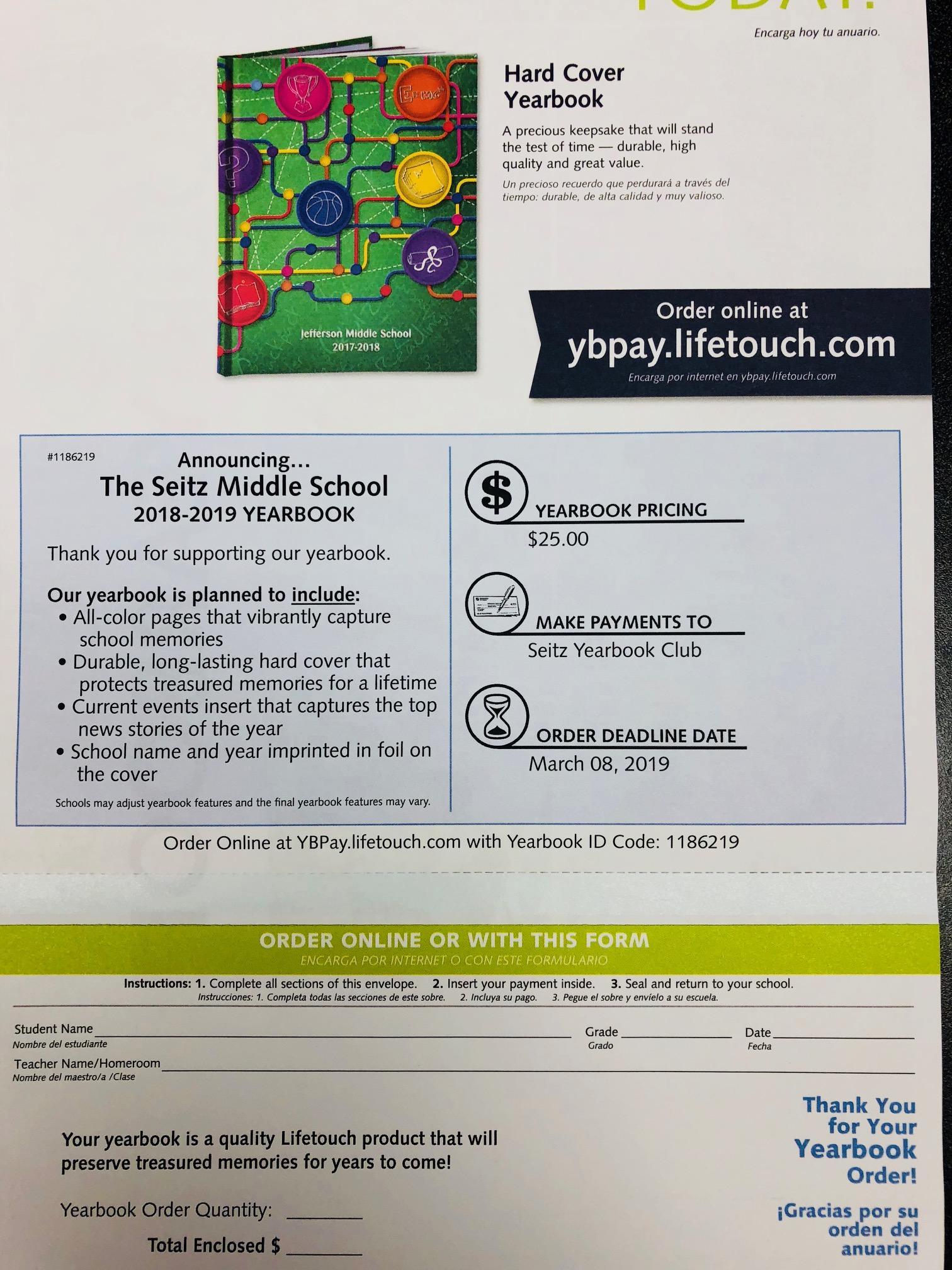 Order Yearbook – Order Yearbook – Seitz Middle School