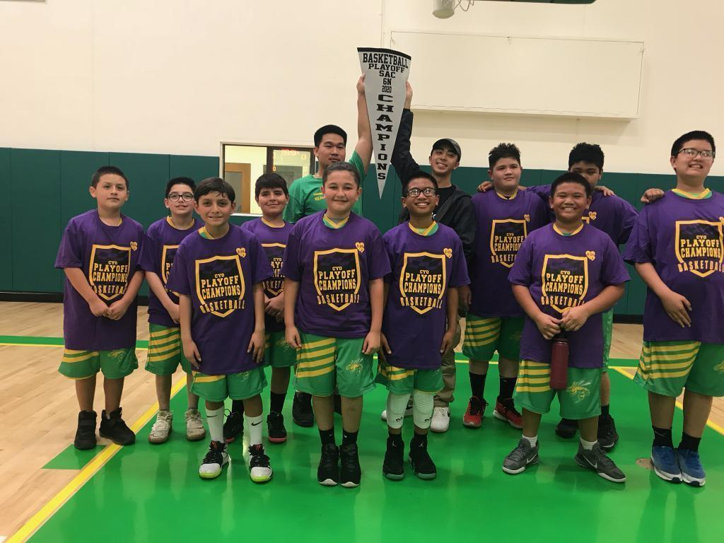 The 6th grade basketball team are 1st place champions!