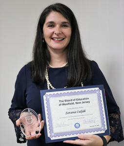 Westfield High School mathematics teacher Zorana Culjak was recognized by the Board of Education at its Sept. 25 meeting as the recipient of the University of Chicago Outstanding Educator Award.