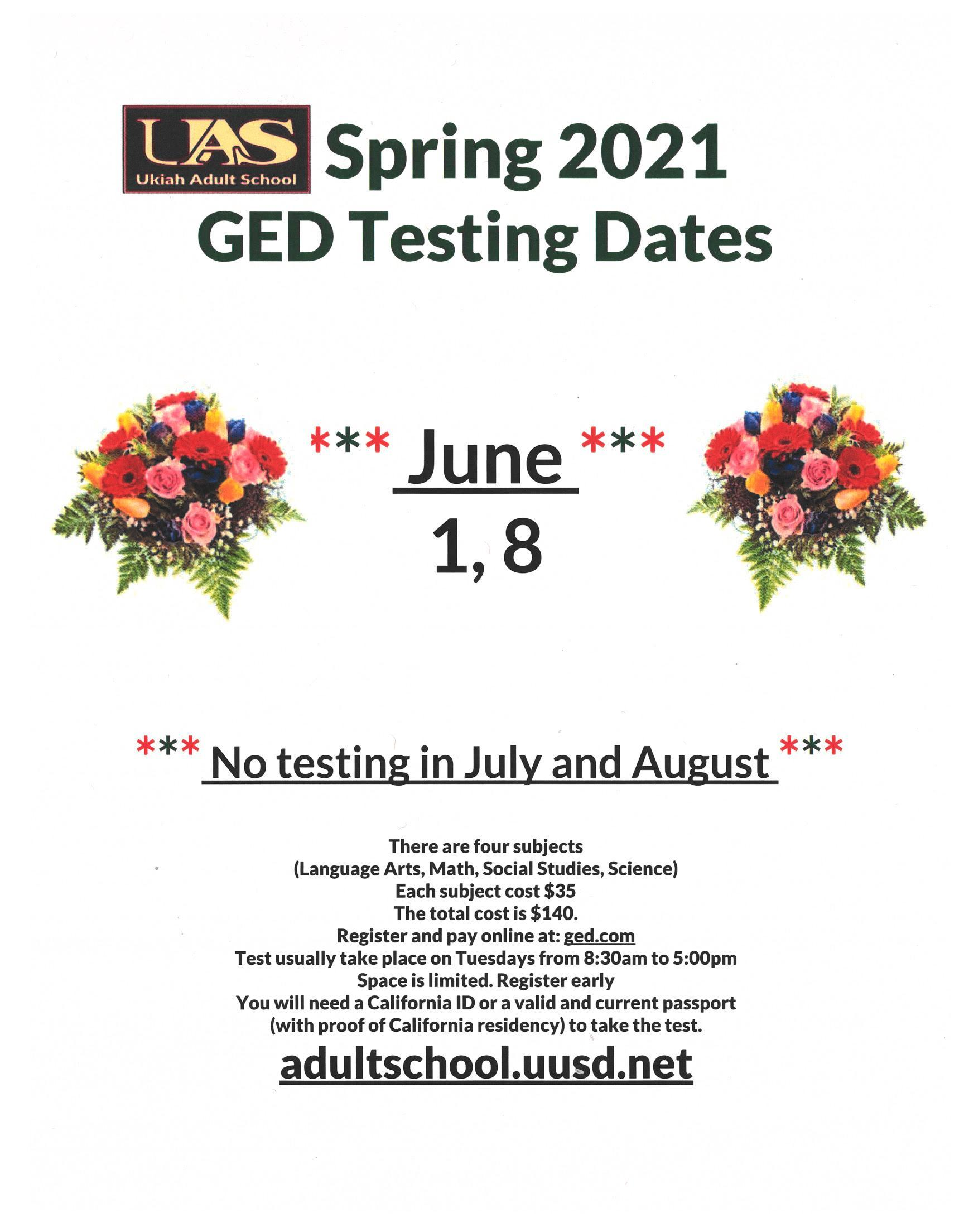 June GED Test Dates Poster