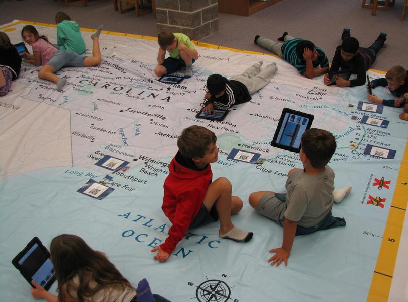 Students enjoyed learning about North Carolina with the NC Giant Map visiting Friendship