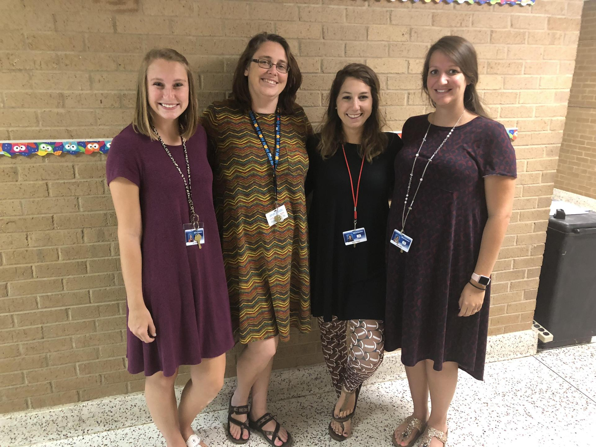 Photo of the kindergarten team - Nanney, Holcomb, Palmer, and Huff
