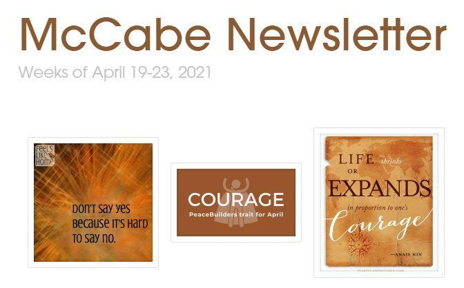 McCabe Newsletter for April 19-23, 2021 Thumbnail Image