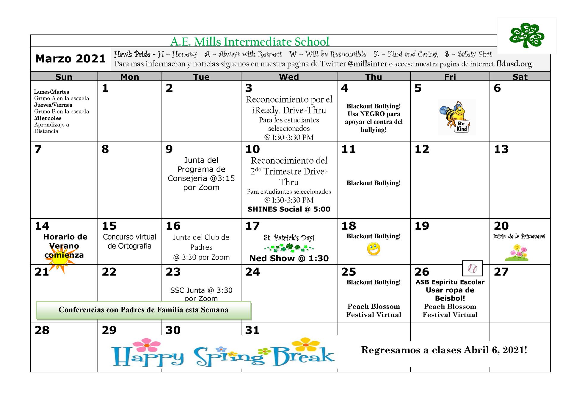 March Span. Calendar