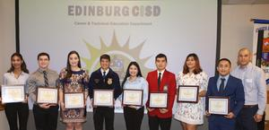 Edinburg CISD Career and Technical Education students pose for a photo during an Edinburg Rotary Club meeting at the Echo Hotel in Edinburg. Pictured L-R: Edinburg High School senior Brianna Tovias, Edinburg High School senior James Champion, Edinburg North High School senior Daisy Salinas, Edinburg North High School senior Armando Jesus Garza, Economedes High School senior Iliana Raine Ramos, Economedes High School senior Andres Angel Guerrero, Vela High School senior Brianna Alissa Gonzalez, Vela High School senior Ivan Solis and Edinburg Rotary Club President Marco Perez.
