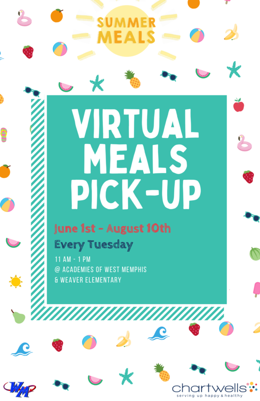 Free Meals for all students can be picked up every TUESDAY from 11:00 am to 1:00 pm at the Academies of West Memphis High School or Weaver Elementary. The Summer Meals will be available from June 1 - August 1o, 2021.