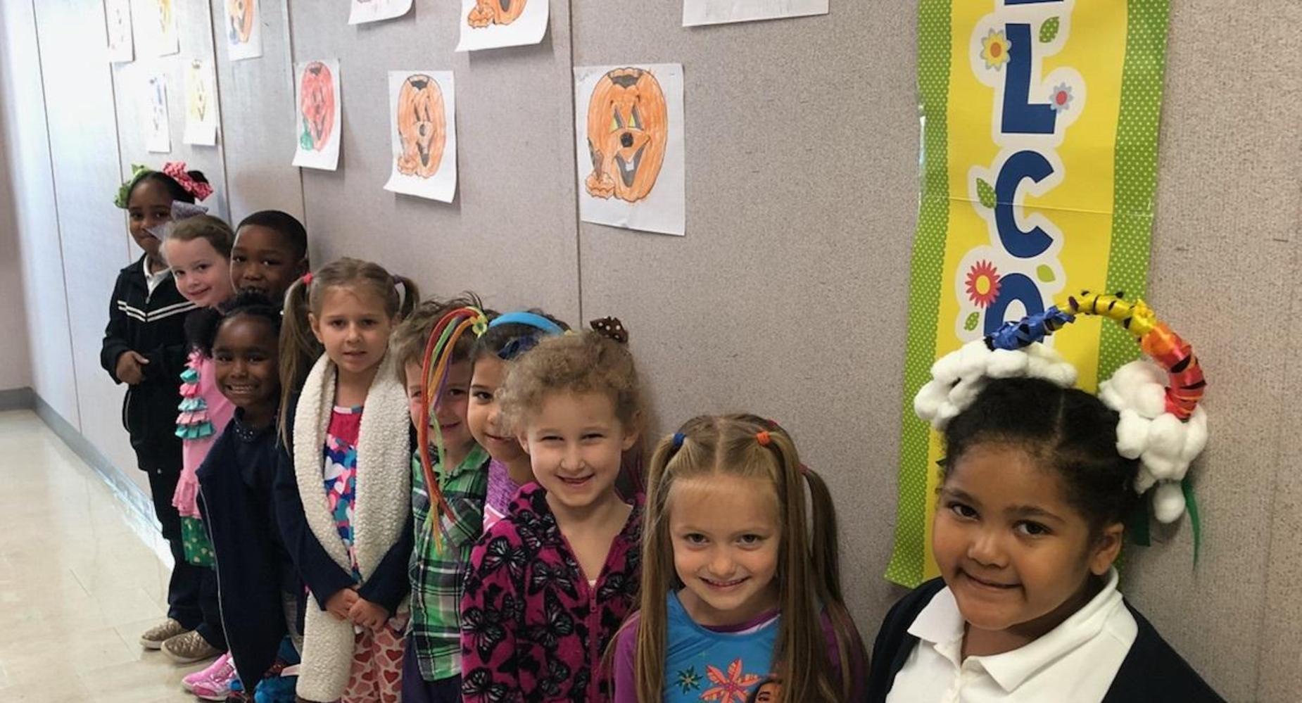 Mrs. Zerangue's Kindergarten Class Celebrates Red Ribbon Week! Wacky Hair/Dress Day!