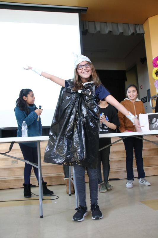 A raincoat made using recycled materials