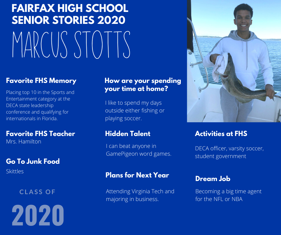 profile of marcus stotts listing favorite things at FHS