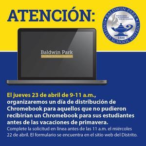 Si su hijo necesita un dispositivo, complete la solicitud en línea antes de las 11:00 a.m. el miércoles 22 de abril.