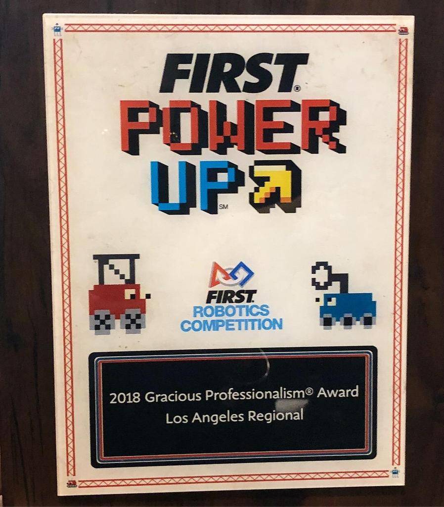 2018 Gracious Professionalism Award @ Los Angeles Regional