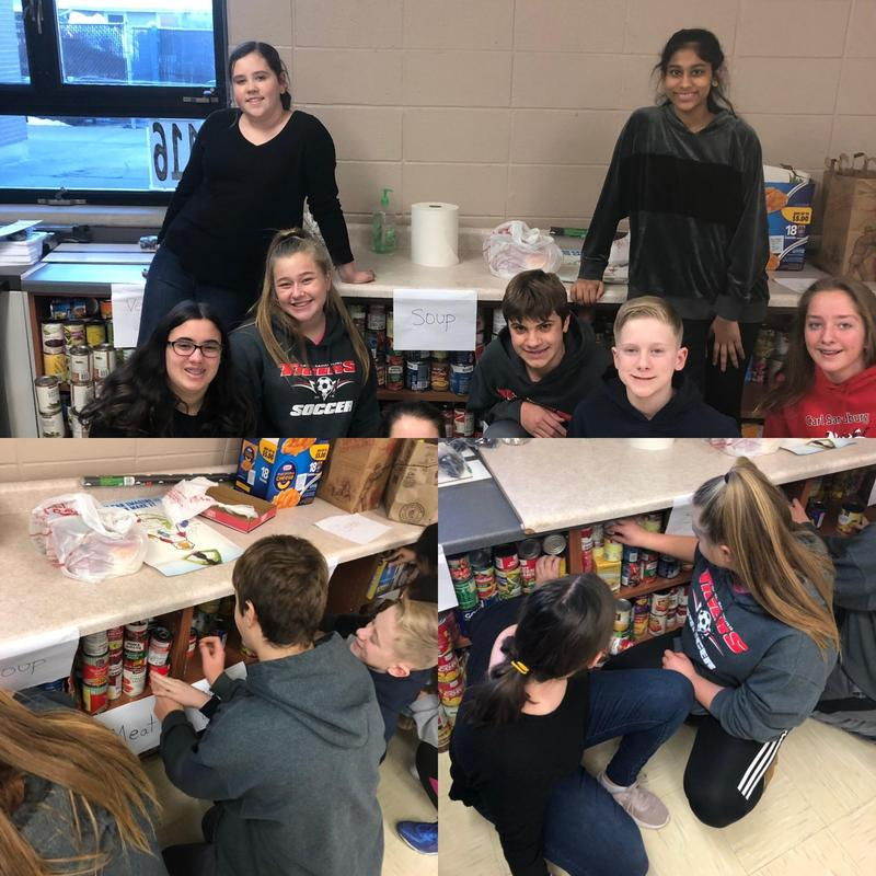 Three frame picture of students stacking canned goods