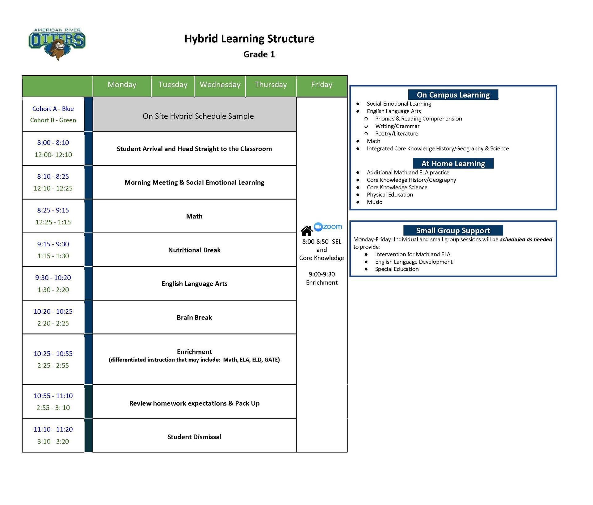 Grade 1 Hybrid Schedule