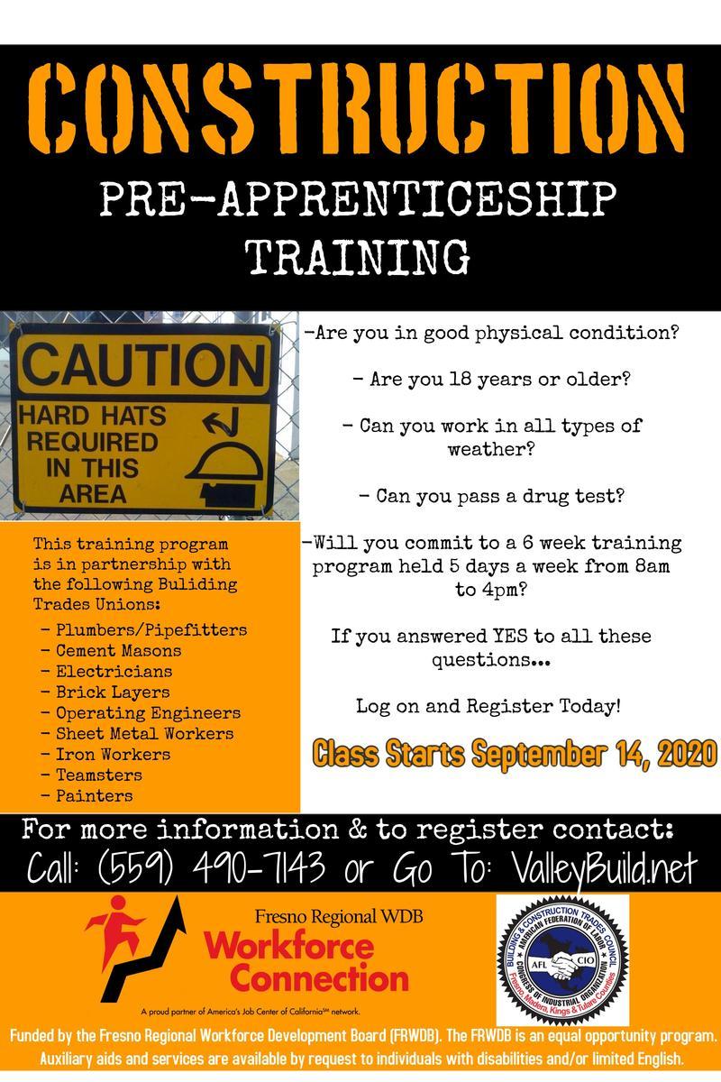 Construction Pre-Apprenticeship flier
