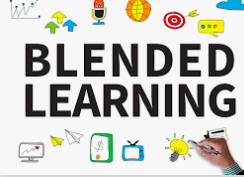 This is a white and colorful background with the words blended learning