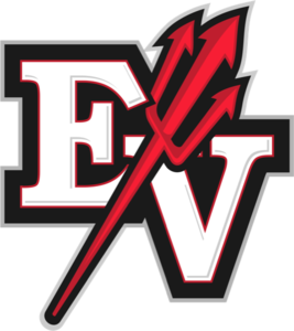 Big E and V logo with red pitchfork going up through them.