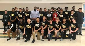 Bethel Johnson visits Coleman Junior High