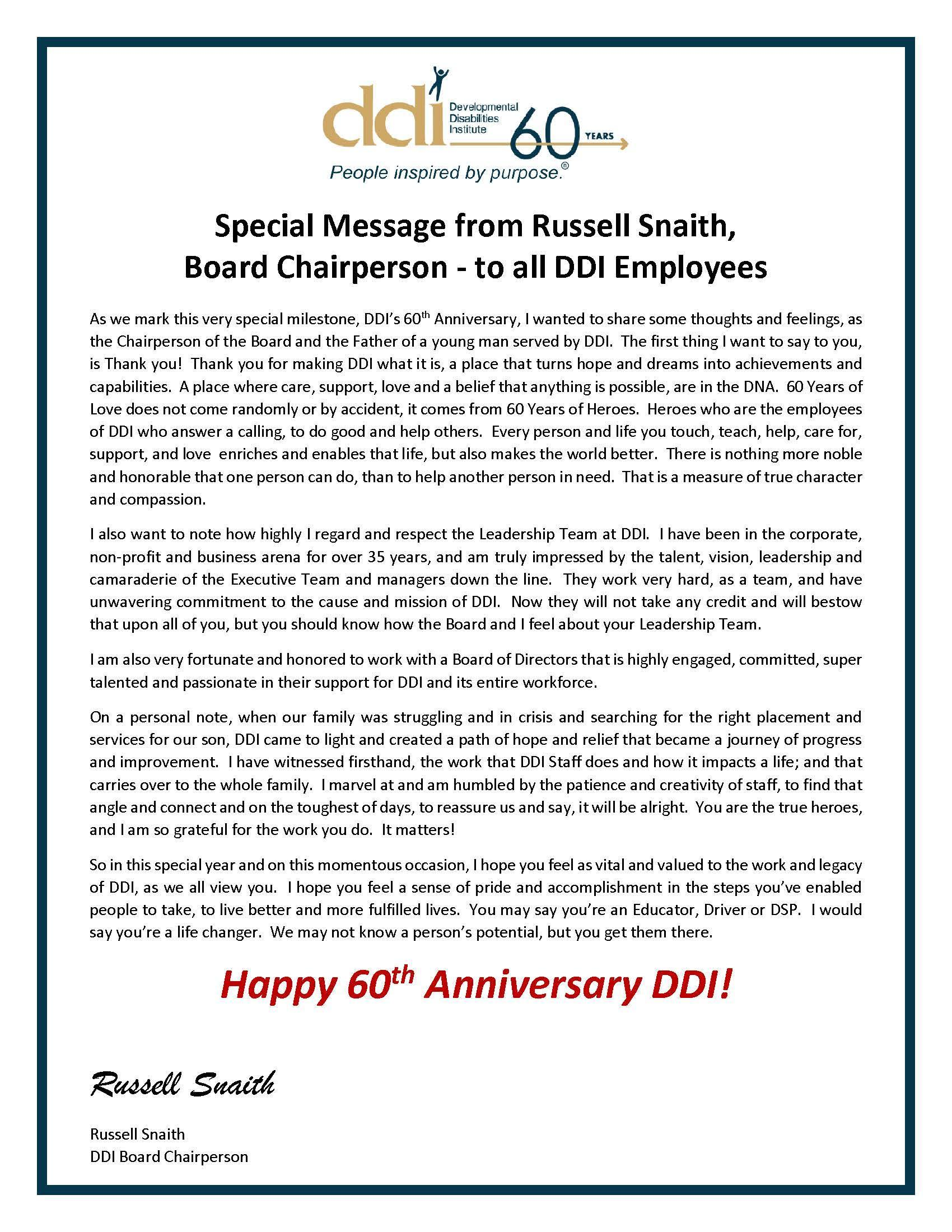 Message from Board Chairperson to all DDI Staff