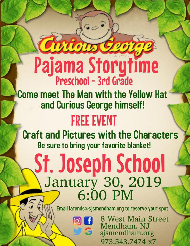 SJS Hosts Curious George Pajama Storytime Featured Photo