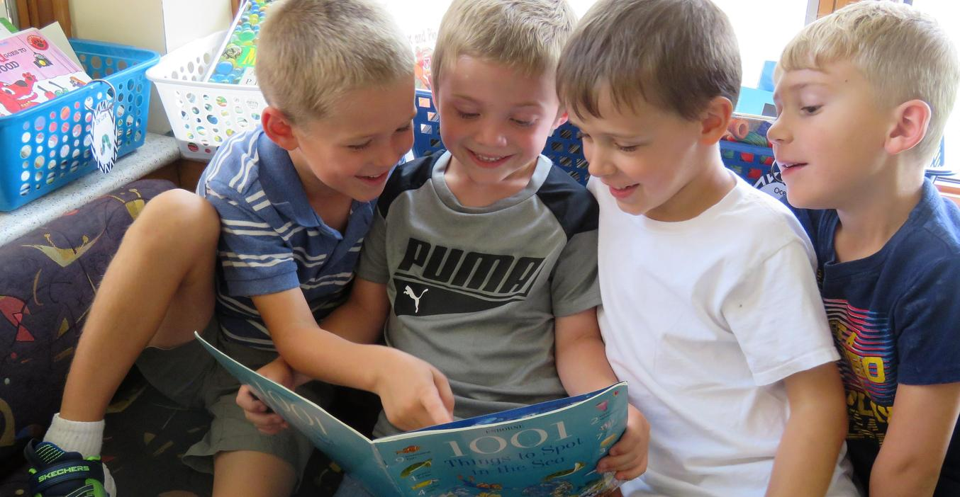 McFall students enjoy some free time to read together.