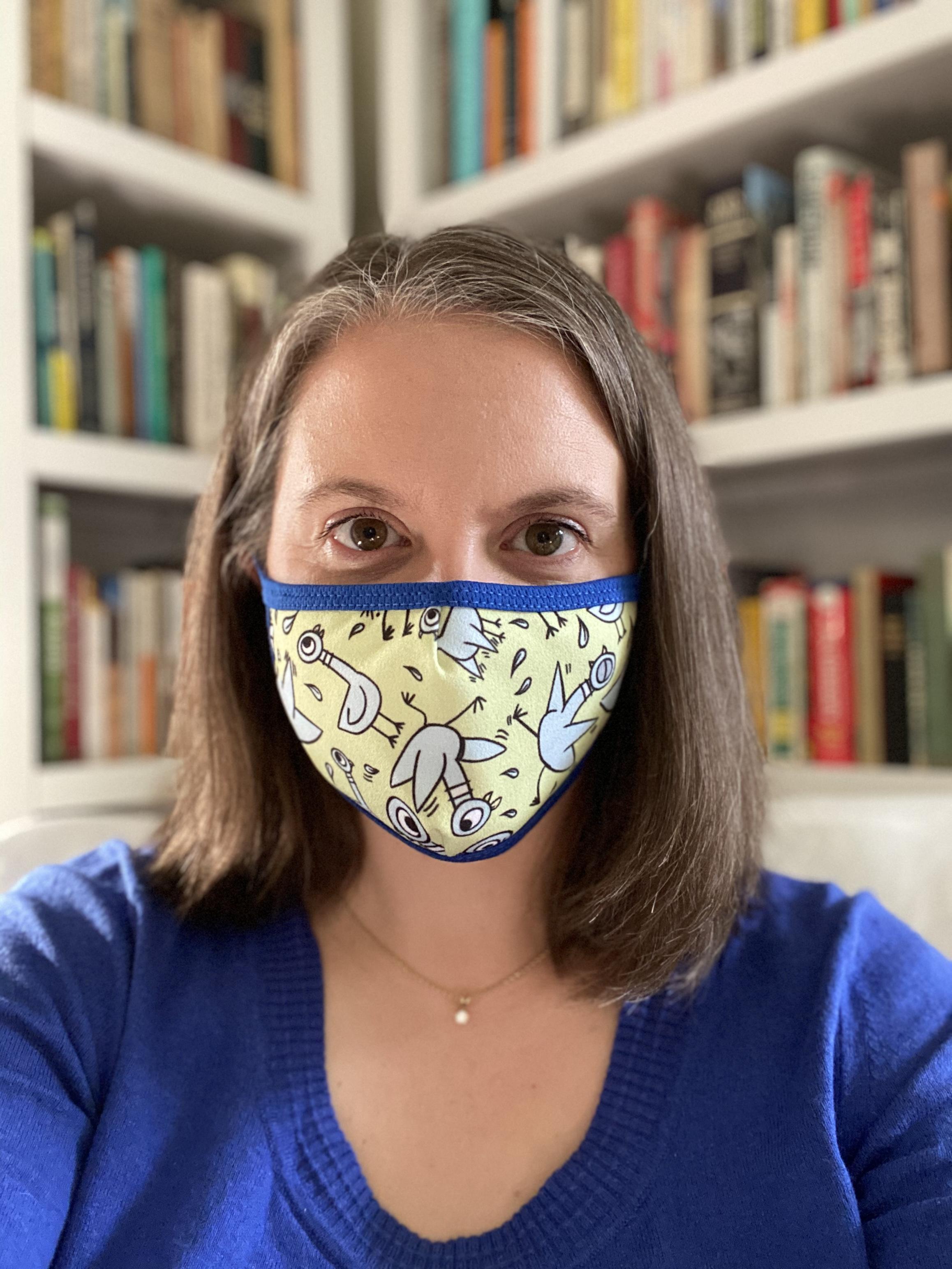 Mrs. Wajda with a mask