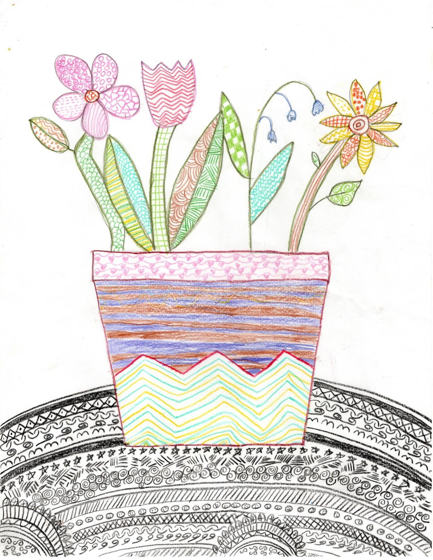 An elementary school student's drawing of a flower pot, using intricate patterns to decorate it with color pencil