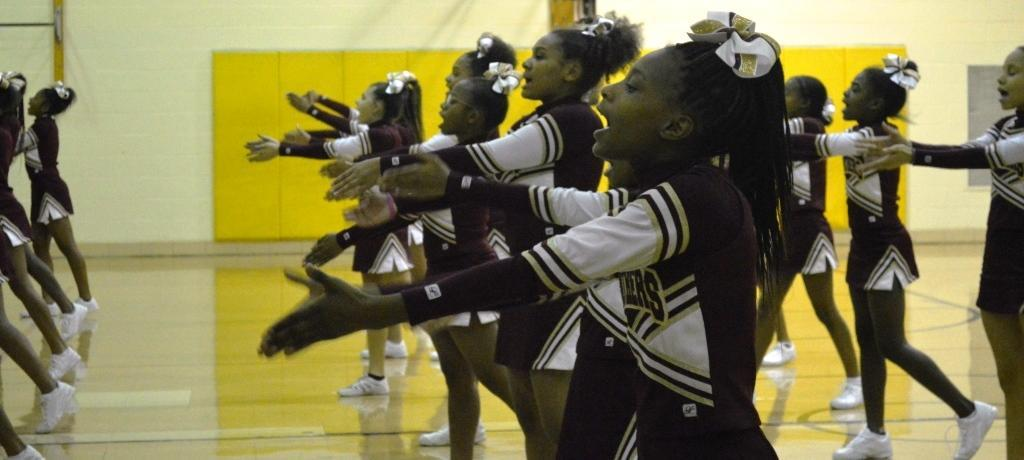 James Hart cheerleading practice