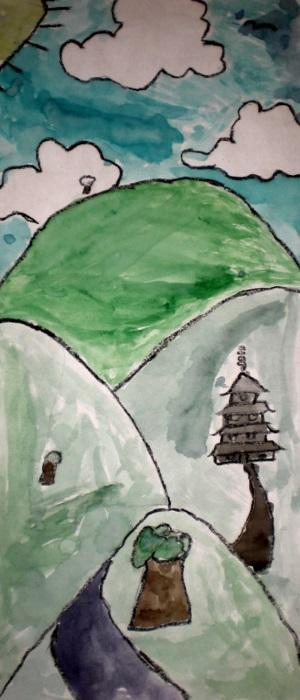 Japanese Landscape Painted By Third Grader