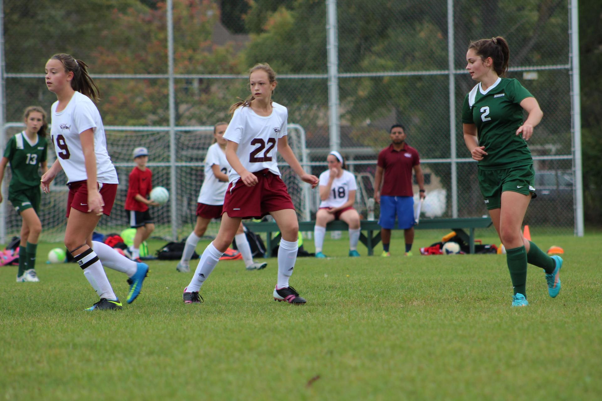JV soccer action on the field