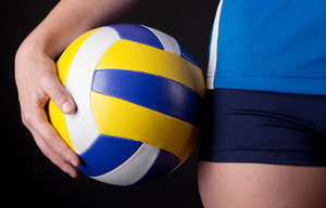 volleyball on player's hip