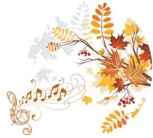 Fall flowers and music notes