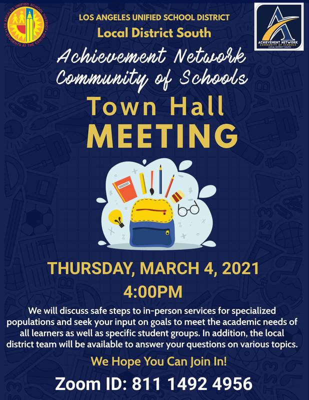 Achievement Network TOWNHALL MEETING! Thursday, March 4th, 2021 @ 4:00 PM!/Junta del Achievement Network! Jueves 4 de marzo @ 4:00 p.m.! Thumbnail Image