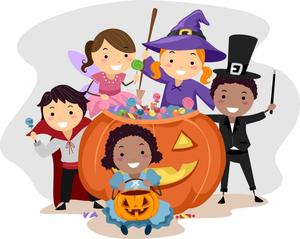 cartoon kids in halloween costumes around a gian pumpkin